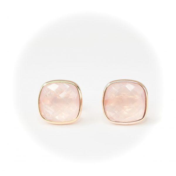 Oro Croma Rose Quartz Earrings